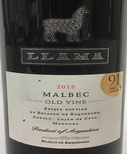 Belasco de Baquedano 'Llama' Old Vine Malbec 2018