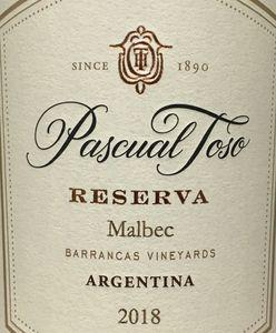 Pascual Toso Reserva Malbec 2018