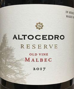 Altocedro Reserve Malbec 2017